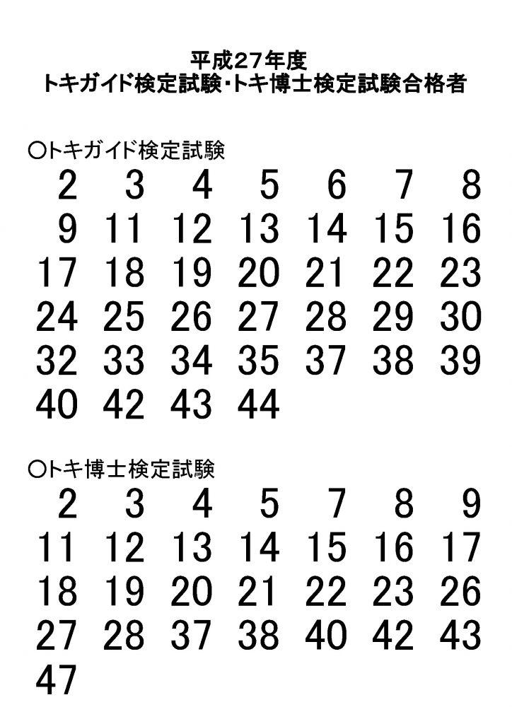 平成27年度トキガイド検定試験・トキ博士検定試験合格者
